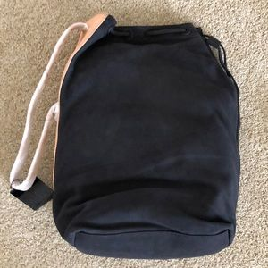 L.A.M.B Suede and Leather ELKE Bucket Bag Black